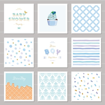 Boy baby shower templates and patterns set