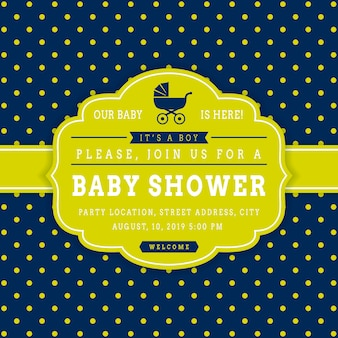 Boy baby shower. vector invitation card template