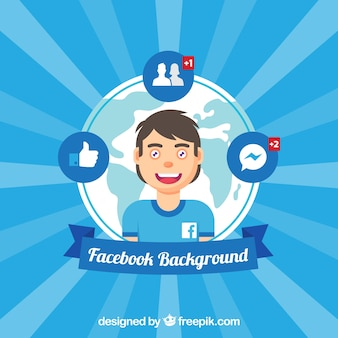 Boy background surrounded by facebook elements
