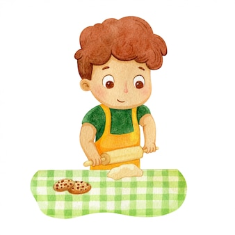 Boy baking chocolate cookies. character illustration of a kid
