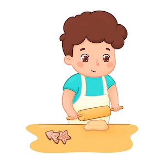 Boy baking cookies. character illustration of a kid