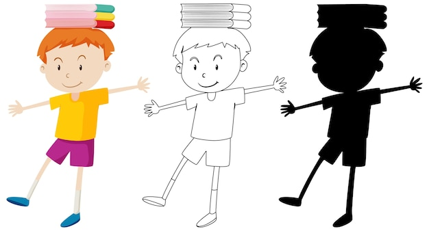 색상과 개요 및 실루엣으로 그의 머리에 책을 균형 잡는 소년