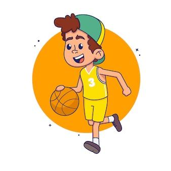 白い背景の上の少年バスケットボール選手。図。