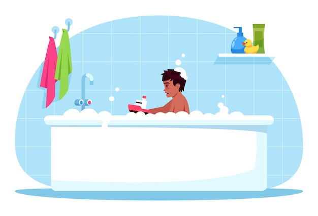 Boy bath time semi  rgb color  illustration. baby play with plastic toy. bubble bath for child. bathroom time. male toddler in bathtub  cartoon character on blue background
