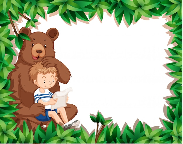 Boy and bear on nature frame
