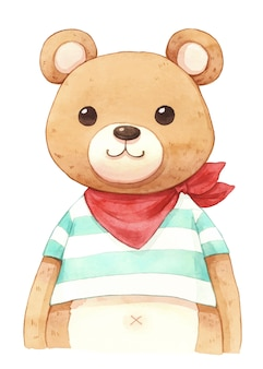 Boy bear watercolor illustration
