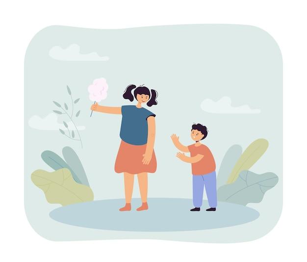 Boy begging girl for candy illustration