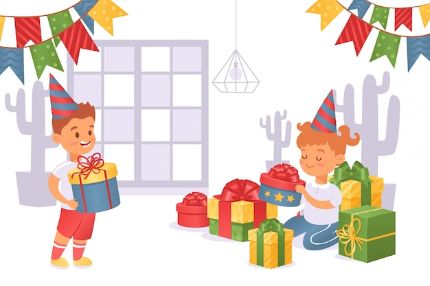 Boy brought gift box to girl in festive cap  illustration. birthday girl consider gifts, beautiful boxes with bows.