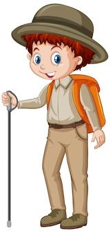 Boy in brown uniform hiking on white