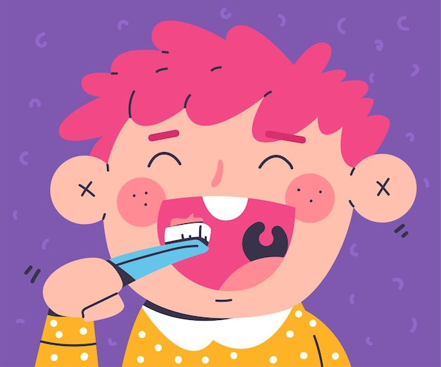 背景に分離された少年の歯磨き歯の漫画イラスト。