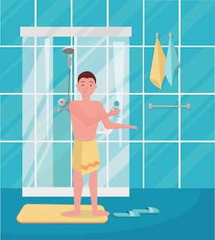 Boy came out of the shower. happy man taking shower. guy standing in the bathroom.