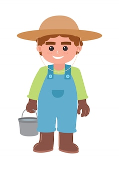 Boy carrying a bucket of water, vector