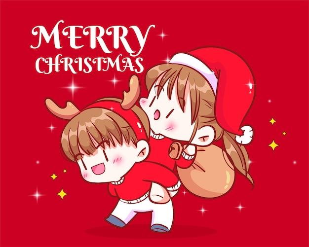 一緒に手描きの漫画アートイラストクリスマスの日の背中のお祝いに女の子を運ぶ少年