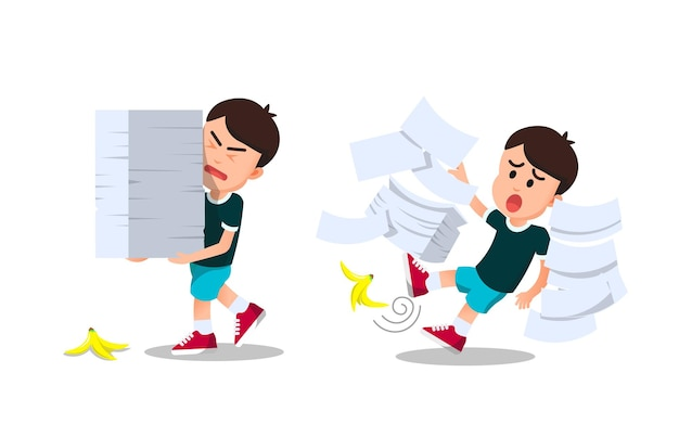 A boy carrying a pile of paper slipped on a banana peel