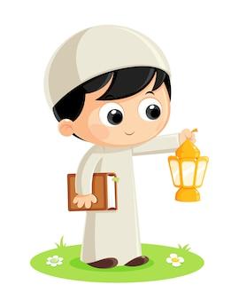 Boy carrying ramadan lantern