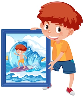A boy cartoon character holding a photo of a boy surfing on big wave