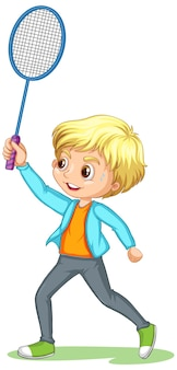 A boy cartoon character playing badminton