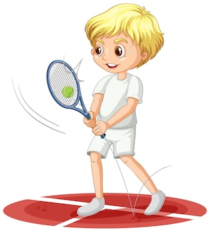 A boy cartoon character playing racket