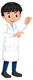 Un personaggio dei cartoni animati da ragazzo che indossa un camice da laboratorio