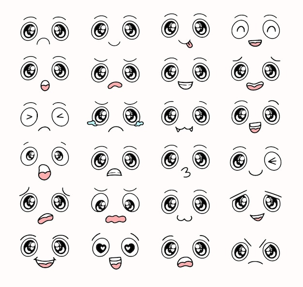 Boy cartoon eyes and faces expression collection set