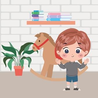 Boy cartoon in room illustration