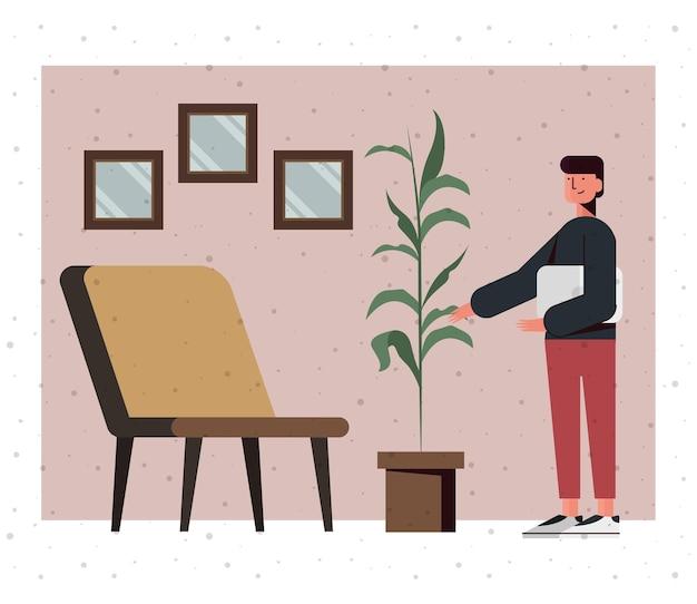Мальчик мультфильм с ноутбуком дома дизайн, цифровые технологии и тема связи