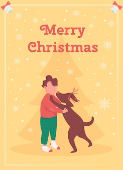 Boy celebrate christmas greeting card flat template. kid receive dog as gift. puppy for child. brochure, booklet one page concept design with cartoon characters. winter holidays flyer, leaflet
