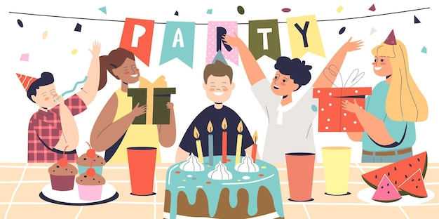 Boy celebrate happy birthday day with friends on kids party holiday event with cake and festive decorations. preschool child blowing candles on celebration. cartoon flat vector illustration