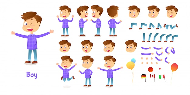 소년 캐릭터 생성자. 만화 소년 창조 마스코트 키트. 애니메이션과 일러스트레이션을위한 캐릭터 생성 세트 포즈와 감정