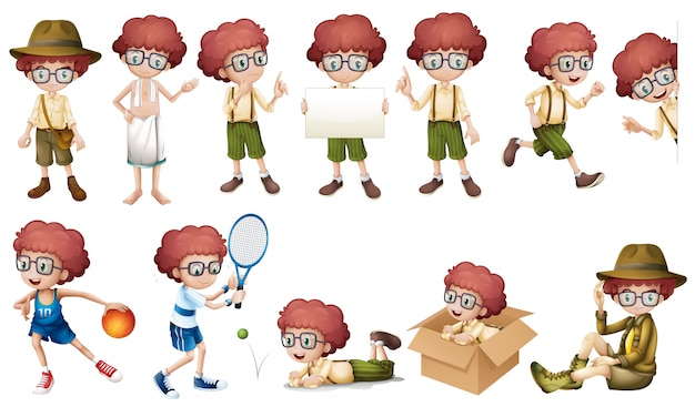 Boy character in different actions isolated