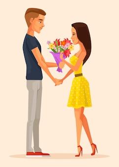 소년 캐릭터는 소녀 캐릭터에게 선물 꽃다발 꽃을 제공합니다. 첫 데이트. 벡터 평면 만화 일러스트 레이션