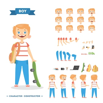 Boy character set with poses and eothions.