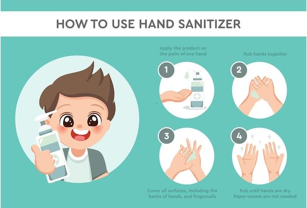 소년 캐릭터는 손 소독제를 올바르게 사용하여 손을 청소하고 소독하는 방법, 의료 인포그래픽 벡터, 전염병 및 관상동맥 증후군 또는 covid-19 예방을 보여줍니다.