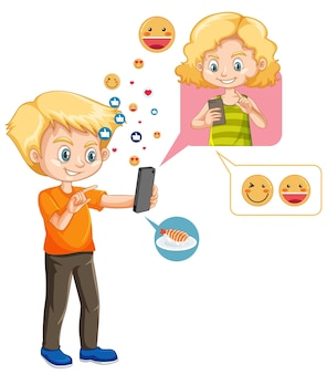 Boy chatting with friend on smartphone with emoji icon cartoon style isolated on white background