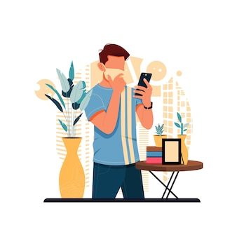 Мальчик болтает со своим другом с помощью смартфона