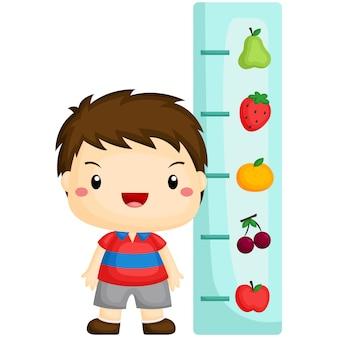 Boy checking height