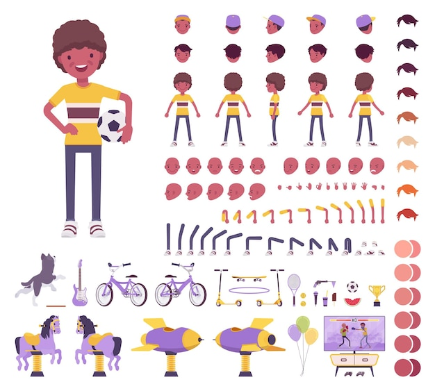 Мальчик ребенок 7, 9 лет, черный детский конструктор школьного возраста, школьник, активный парень в летней одежде, развлечения, элементы создания мероприятий для создания собственного дизайна. мультяшный плоский инфографический рисунок