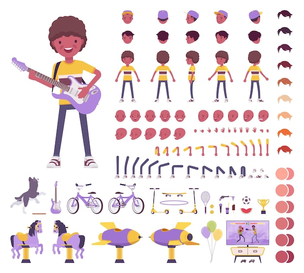 Boy child 7, 9 year old, school age black kid construction set, schoolboy, active guy in summer wear, fun, activities creation elements to build own design. cartoon flat style infographic illustration