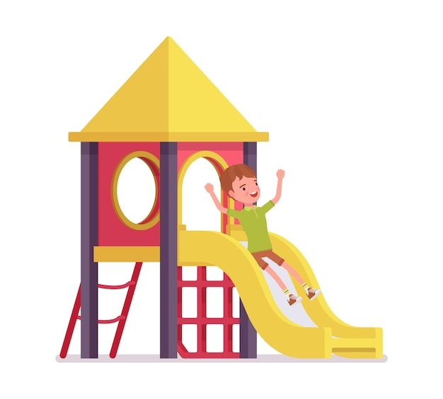 Boy child 7-9 years old, active school age kid sliding down