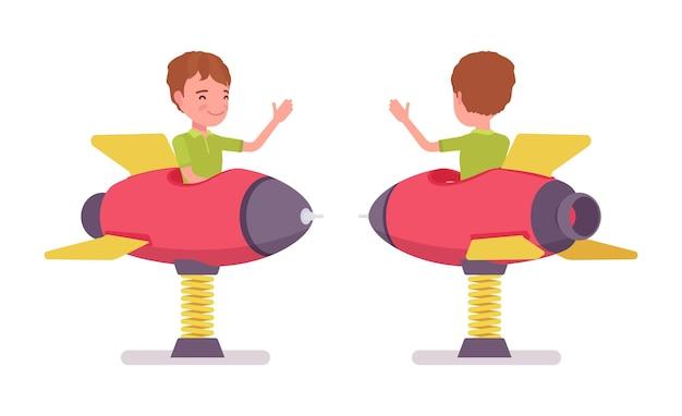 Boy child 7-9 yo school age kid, rocket spring rider