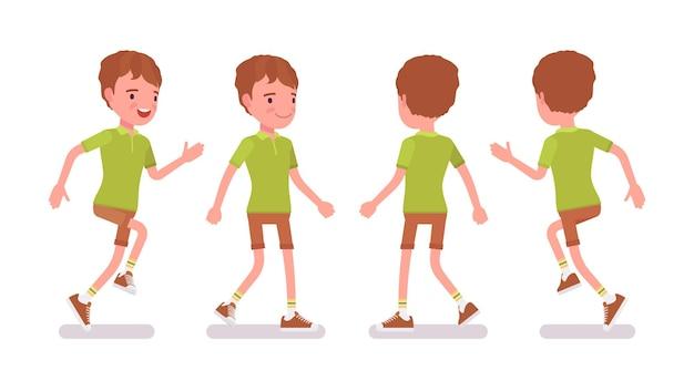 7〜9歳の男の子、アクティブな男性の学齢期の子供が走って、歩いています