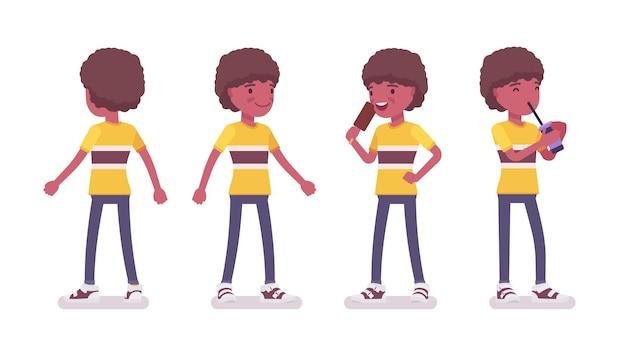 7〜9歳の男の子、黒人のアクティブな男性の学齢期の子供が立って、ソーダ水を飲み、アイスクリームを食べるのを楽しむ