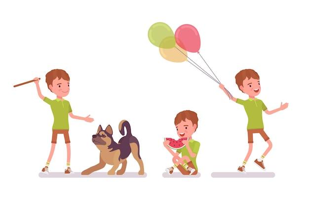 7〜9歳の男の子、学齢期の男性の子供の活動