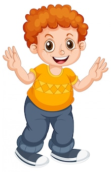 Boy child character on isolated background