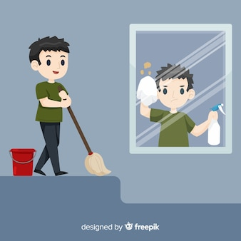 Boy cleaning collection
