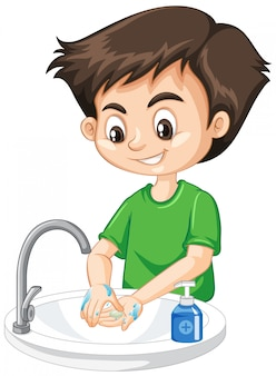 Boy cleaning hands on white background