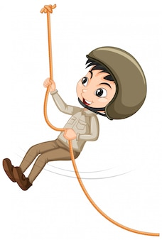 Boy climbing rope
