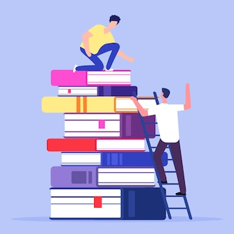 Boy climbing scale and boy on the top of a book pile