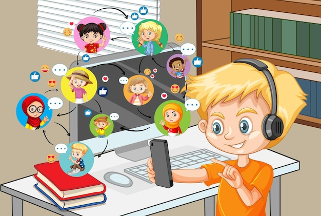 A boy communicate video conference with friends at home scene