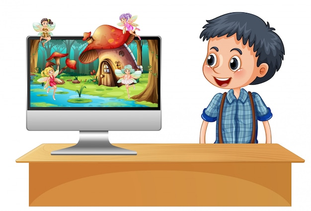 Boy next to computer fairy on screen